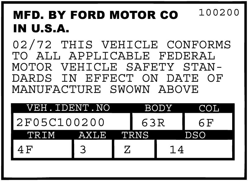 Mustang Data Plate