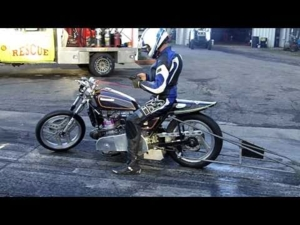 Polaris Snowmobile Engine Powered Kawasaki Asphalt Drag Bike @ Dragway 42