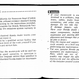Owners Manual- 1983 GL1100 Aspencade Pages 76 & 77