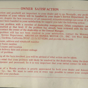 Owners Manual- 1981 GL1100 Interstate Preface Page 1