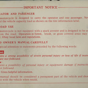 Owners Manual- 1981 GL1100 Interstate Preface Page 2