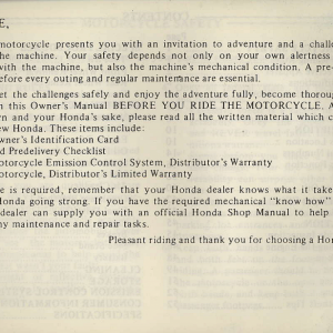 Owners Manual- 1981 GL1100 Interstate Preface Page 4