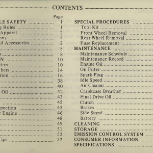 Owners Manual- 1981 GL1100 Interstate Index