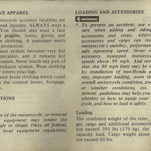 Owners Manual- 1982 GL1100 Interstate Page 2