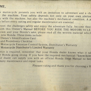 Owners Manual- 1982 GL1100 Interstate Preface Page 3