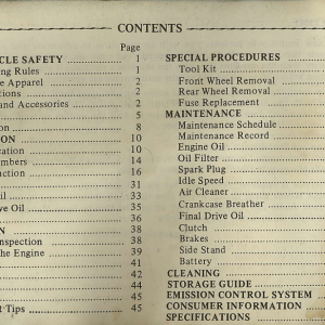 Owners Manual- 1982 GL1100 Interstate Index