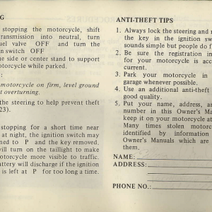 Owners Manual- 1982 GL1100 Interstate Page 45