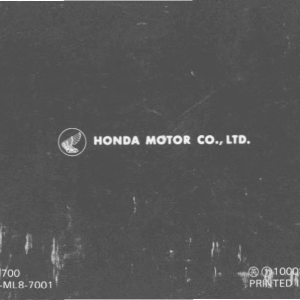 Owners Manual- 1986 GL1200 Interstate Rear Cover