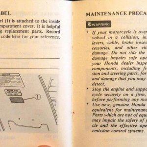 Color Label, Maintenance Precautions Page 84 & 85