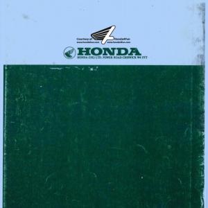 Honda Common Tool Manual Back Cover
