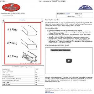 Enginetech Ring Set Specs