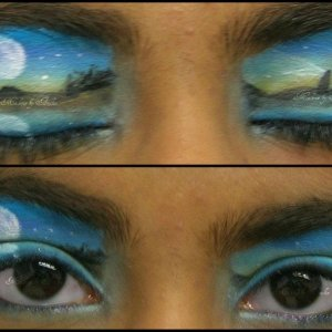 What's makeup if you can't be a little creative? This has to be my favorite scenery. I love moons. Lol. I don't think its wearable to cautious people