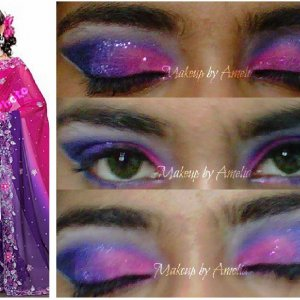 I am of East Indian descent and I love my culture. I love glitter and bright colours too. lol. I'll upload a lot of these, they are eyeshadow looks in