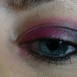 Makeup Forever's #75 Neon Pink and Coastal Scents matte black from there 88 palette