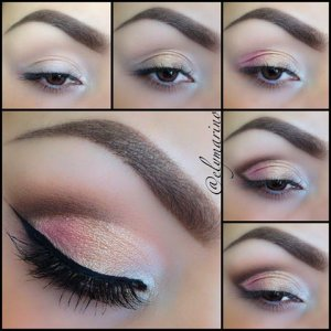 *Base/Light Amber Concealer Tear duct/Pressed Eye Shadow - Pearl  Middle of lid/iPressed Eye Shadow - Vntage Glam  Outer corner/Pressed Eye Shadow - P