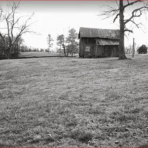 black and white back of pollard cabin.JPG