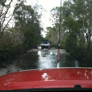 Getting the truck wet, millions of mozzys outside in ths swamp land.