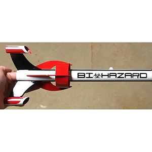 Biohazard fin can and lettering close-up