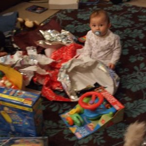 all puffed out after opening all his prezzies