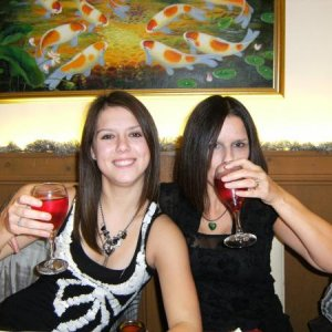 My daughter and me having a glass of vino to celebrate