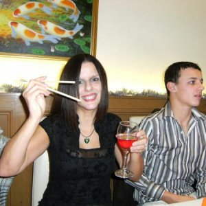 Me and son,experimenting with chop sticks