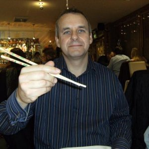 hubby playing with his chop sticks...