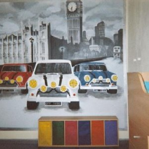 My sons wall, it took me about 6 months, i couldn't work on it all the time. P.S. Thats a real clock, i remoulded it and painted it to match wall.