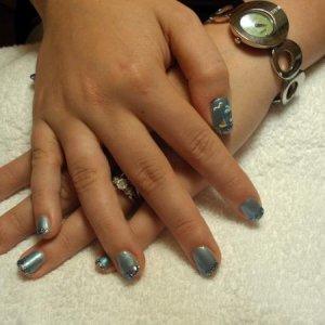Bio Turquoise with Nailgrafx Blue Moon Madness and Nailtopia Summer Scene Nail Art