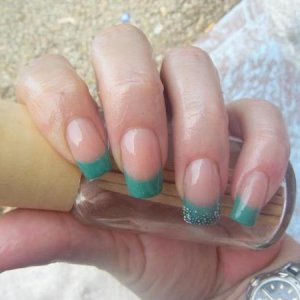 cnd jade with a custom blend extended nail bed.