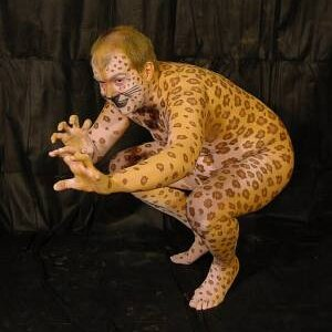 """""""Leopard Man"""". A full body painting that I did on a friend."""