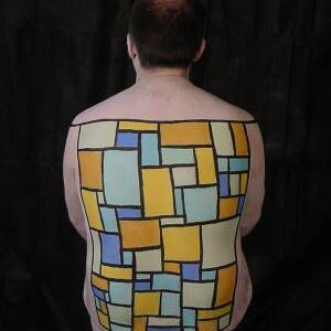 """""""Mondriana"""". A body paint that I did on a friend based on the work of the artist Mondrian."""