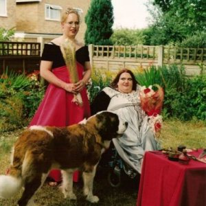 Sonia and I with Pepsi, our gorgeous St Bernard girl.
