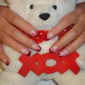 Gel glitter, Air Brushed Hearts and acrylic 3d flowers