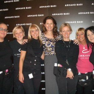 me and the girls at fashion week!  left to right is- dannii, kate, holly, samantha, amanda, julie in pink and me!