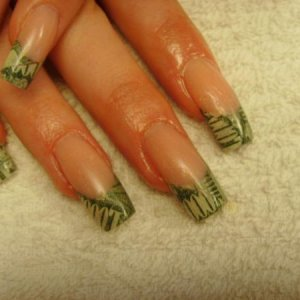 encase with clear liquid and powder and custom blended nail beds...