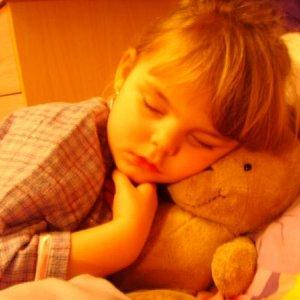 my sleepy baby girl and her teddy sam