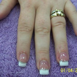 Purple rose nail.  I love the new rose design I've come up with.  Much better than the other purple one I have.  The tiny yellow flowers are my yellow jasmine, but reduced tiny - 3 mm.  Butterflies are my monarch design.