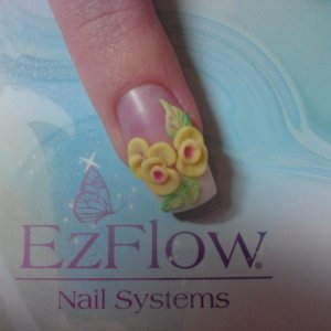 Embossed flowers  embossed flowers and leaves made with a combo of pastel and gemstones powders  (the nail is not high shined.... and it pre UV30 finish)