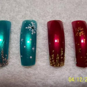 Christmas hand painted, icicles and snowflakes