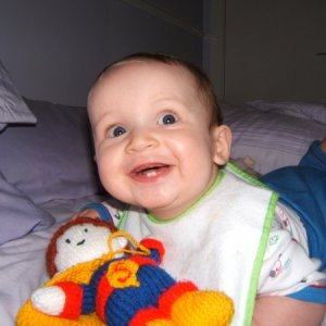 brodie aged 7 months  here is a pic of my little fella...he was 7 months old yesterday...he is such a cheeky little thing now, always smiling and showing off his teeth