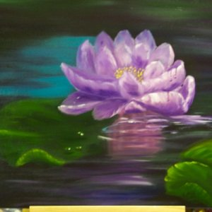 water lily  I am getting back into oil painting. Not done any for a while, but I find it so therapeutic!
