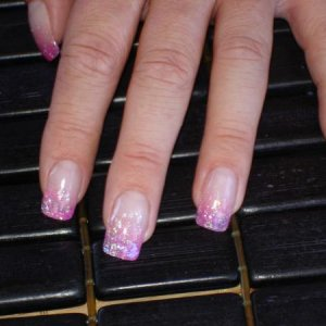Rens nails two tone glitter fade