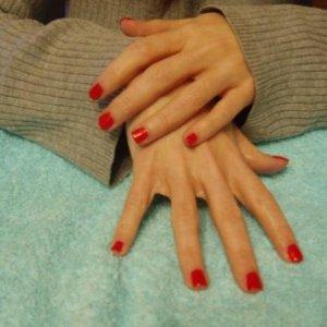Natural nails with Attitude Outrageous Orange polish