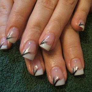 pinks and white with silver and black flicks