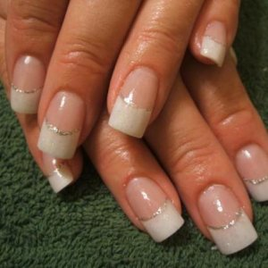 glitter and white acrylic  with sliver glitter