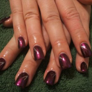 tips with polish and silver flicks