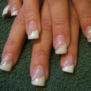 french airbrushed nails with silver glitter