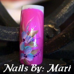 Pretty in pink  Pink Polish with Blue Flowers