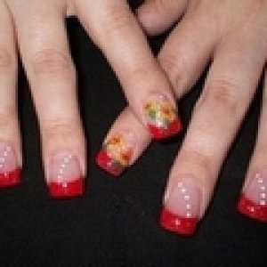 my 1st 3d client  used CND's mosaic l&p for the forever french and the 3d flowers.