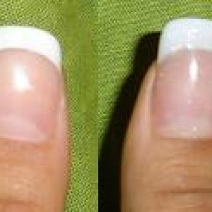 Thumb - Before and After Custom Blend  Ordinary P&W with rhinestone. CB P&W (slightly glittery - if you can see it)